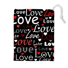 Red Love pattern Drawstring Pouches (Extra Large)