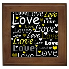 Yellow Love pattern Framed Tiles