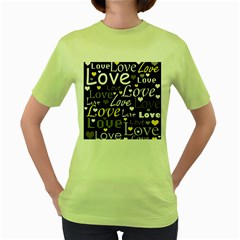 Yellow Love pattern Women s Green T-Shirt