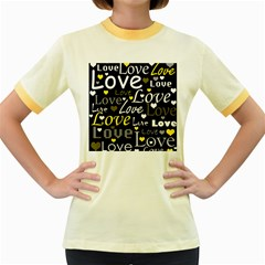 Yellow Love pattern Women s Fitted Ringer T-Shirts