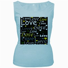 Yellow Love pattern Women s Baby Blue Tank Top