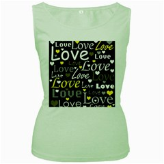 Yellow Love pattern Women s Green Tank Top
