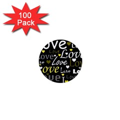 Yellow Love pattern 1  Mini Magnets (100 pack)