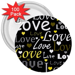 Yellow Love pattern 3  Buttons (100 pack)