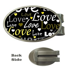 Yellow Love pattern Money Clips (Oval)