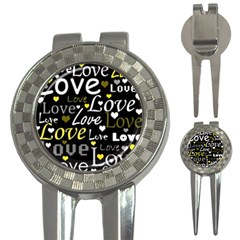 Yellow Love pattern 3-in-1 Golf Divots