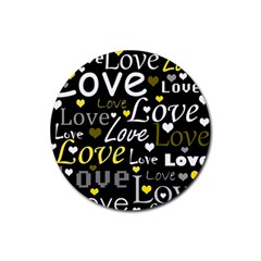 Yellow Love pattern Rubber Coaster (Round)