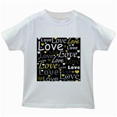 Yellow Love pattern Kids White T-Shirts