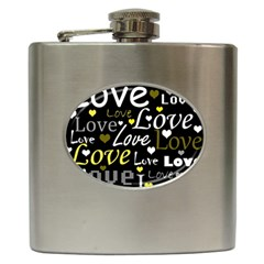 Yellow Love pattern Hip Flask (6 oz)
