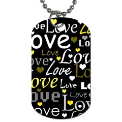 Yellow Love pattern Dog Tag (Two Sides)