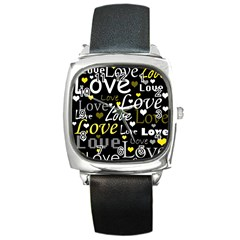 Yellow Love pattern Square Metal Watch
