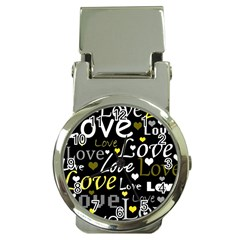 Yellow Love pattern Money Clip Watches