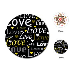Yellow Love pattern Playing Cards (Round)
