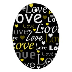 Yellow Love pattern Oval Ornament (Two Sides)