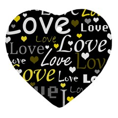 Yellow Love pattern Heart Ornament (2 Sides)