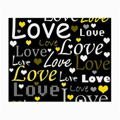 Yellow Love pattern Small Glasses Cloth (2-Side)