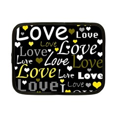 Yellow Love pattern Netbook Case (Small)