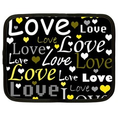 Yellow Love pattern Netbook Case (Large)
