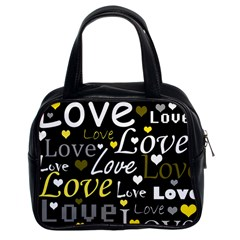 Yellow Love pattern Classic Handbags (2 Sides)