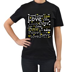 Yellow Love pattern Women s T-Shirt (Black)