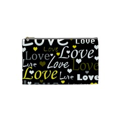 Yellow Love pattern Cosmetic Bag (Small)