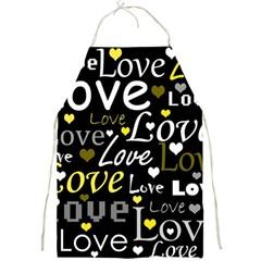 Yellow Love pattern Full Print Aprons