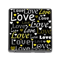 Yellow Love pattern Memory Card Reader (Square)