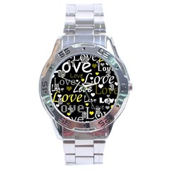 Yellow Love pattern Stainless Steel Analogue Watch