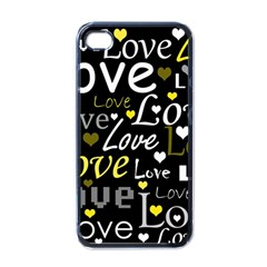 Yellow Love pattern Apple iPhone 4 Case (Black)