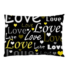 Yellow Love pattern Pillow Case (Two Sides)
