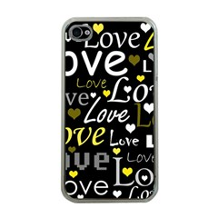 Yellow Love pattern Apple iPhone 4 Case (Clear)