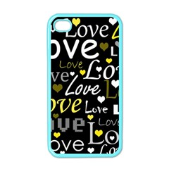 Yellow Love pattern Apple iPhone 4 Case (Color)