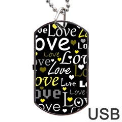 Yellow Love pattern Dog Tag USB Flash (One Side)
