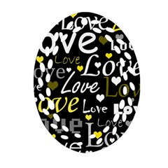 Yellow Love pattern Oval Filigree Ornament (2-Side)