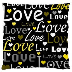Yellow Love pattern Large Cushion Case (Two Sides)
