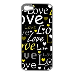 Yellow Love pattern Apple iPhone 5 Case (Silver)
