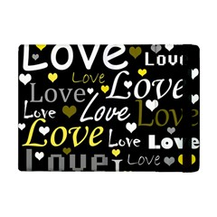 Yellow Love pattern Apple iPad Mini Flip Case