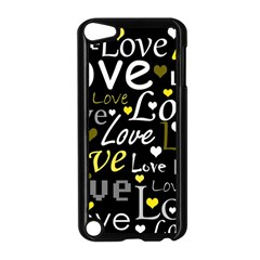 Yellow Love pattern Apple iPod Touch 5 Case (Black)