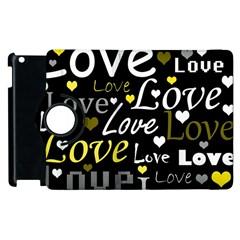 Yellow Love pattern Apple iPad 3/4 Flip 360 Case