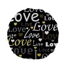 Yellow Love pattern Standard 15  Premium Round Cushions