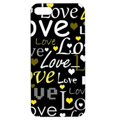 Yellow Love pattern Apple iPhone 5 Hardshell Case with Stand