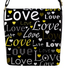 Yellow Love pattern Flap Messenger Bag (S)