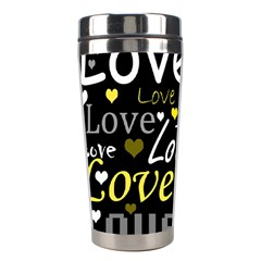Yellow Love pattern Stainless Steel Travel Tumblers