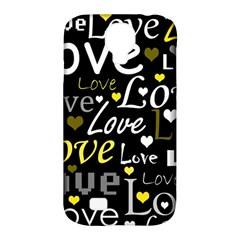 Yellow Love pattern Samsung Galaxy S4 Classic Hardshell Case (PC+Silicone)