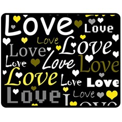 Yellow Love pattern Double Sided Fleece Blanket (Medium)