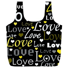 Yellow Love pattern Full Print Recycle Bags (L)
