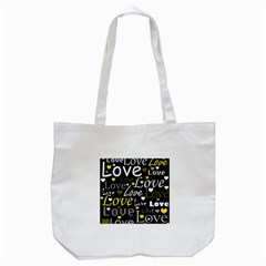 Yellow Love pattern Tote Bag (White)