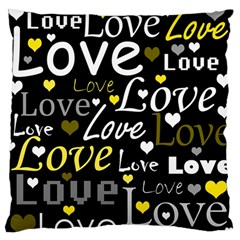 Yellow Love pattern Standard Flano Cushion Case (Two Sides)