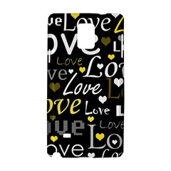 Yellow Love pattern Samsung Galaxy Note 4 Hardshell Case