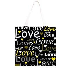 Yellow Love pattern Grocery Light Tote Bag